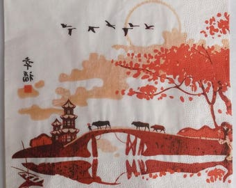 10 napkins - TEMPLE and bridge of Asian art   3778