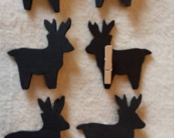 Marks places, 6 reindeer in wood painted with chalkboard paint!