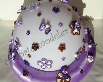 Bright flowers and butterflies sphere centerpiece