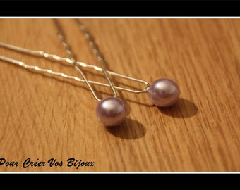 Set of 5 hair pins and 10mm purple bead