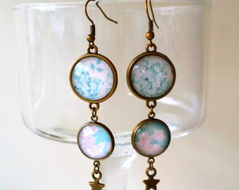 Earrings pendants #garden in blue3 # romantic and retro vintage