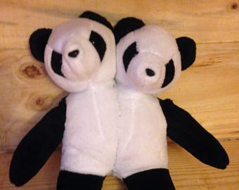 Two Headed Panda Bear Plushie, unique and one of a kind, perfect for someone who wants an unusual toy
