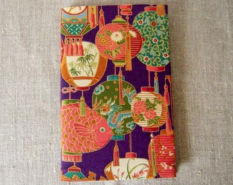 Notebook upholstered fabric printed with Japanese lanterns