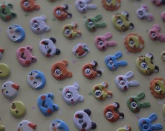 1 sheet of Kawaii Stickers - patterns skulls of animals (104 stickers/sheet)
