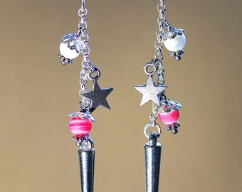 """Rock"" new wave, girly, fancy earrings"