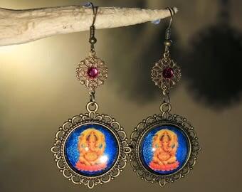 """Ganesh"" bollywood earrings, India, fantasy, ethnic"