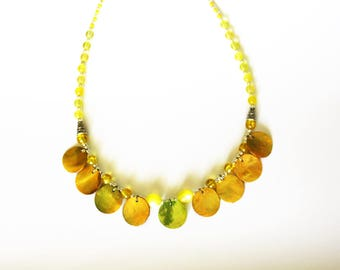 Yellow necklace with shell sequins