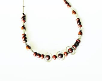 Tibetan ethnic necklace with silver and gem stones