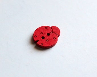 x 1 button wooden - Ladybug - red - sewing Scrapbooking Home decor