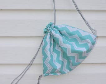 Teal and white zigzag drawstring sack