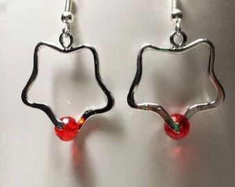 Red Crystal clover earrings