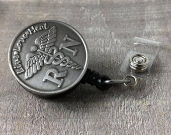 Registered Nurse Badge Holder - Retractable ID Badge Reel - Inspirational Live Love Heal - The Fancy Badger