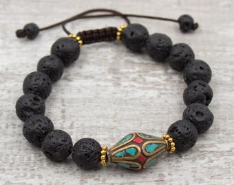 Calming Lava Rock With Tibetan Bead