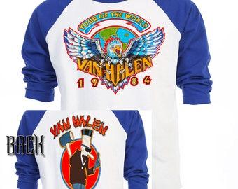 VAN HALEN,1984 World Tour RETRO Baseball T-Shirt,All Sizes,481
