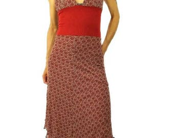 long summer dress half open back top mesh red rust cotton and printed voile