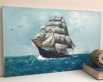 Large Vintage Oil Painting Clipper Ship Seascape On Canvas