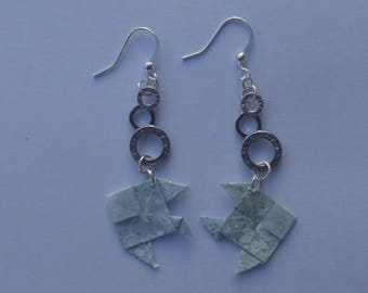 Earrings with silver metal rings and light blue fish earrings hooks origami Japanese paper