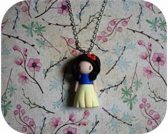 "Snow White Princess necklace ""black hair, blue/yellow dress"" (Princess collection)"