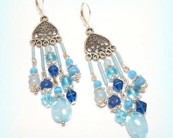 "Earrings Crystal Silver ""A bright summer"""