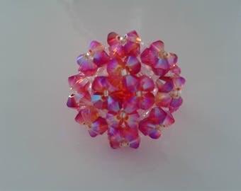 Ring pink multicolre in Fire Opal Swarovski Crystal pearls