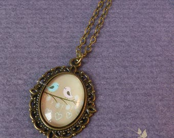 Necklace - bird - medallion and cabochon pair