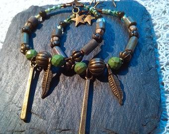 Earrings Creole bronze and green