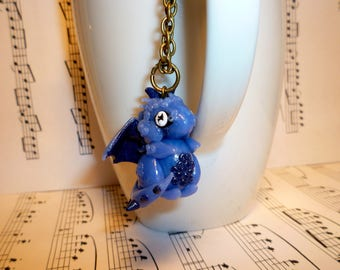 Rivers Dragon Necklace: Blue Sapphire and Agate