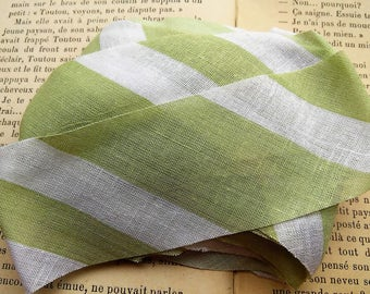 coupon 1 meter fabric stripe green cotton wide 4.cm