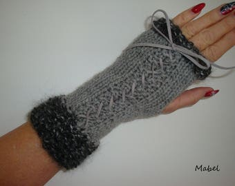 Grey lace, silk and mohair, soft and warm mittens