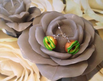 "Polymer clay earrings ""doughnuts lemon yellow and green"""