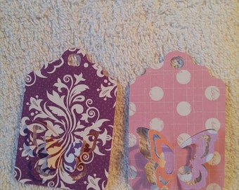 Set of 2 double-sided butterflies embossed labels tags