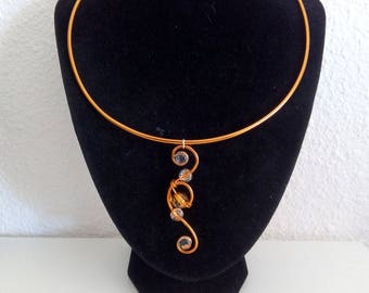 Orange aluminum necklace