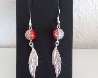 Earrings red and silver feather earrings