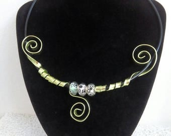 aluminum, black and green necklace...