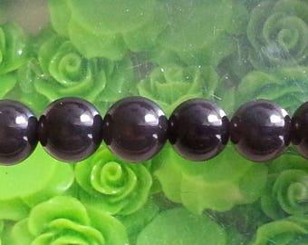 5 pearls d ' Obsidian 8 mm diameter, hole 1 mm