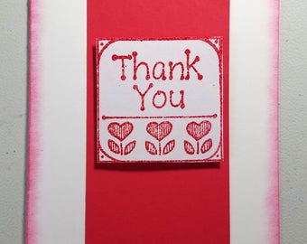 Thank You, Handmade Card, Red, White, Embossed