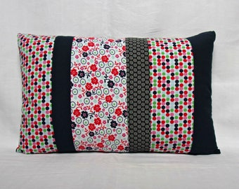 Cushion deco patchwork - print, dark blue, red and green