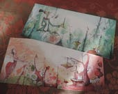 Duo de longues cartes postales - images issues du livre Les jardins Divari
