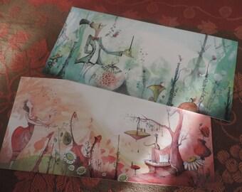 "Duo of long postcards - images from the book ""Les jardins Divari"""