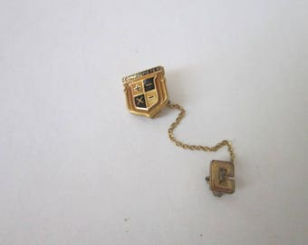 Antique Gold Filled & Enameled Pinback with Chain Comptometer
