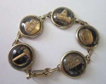 Vintage Souvenir Washington D C Glass Paperweight Style Bracelet