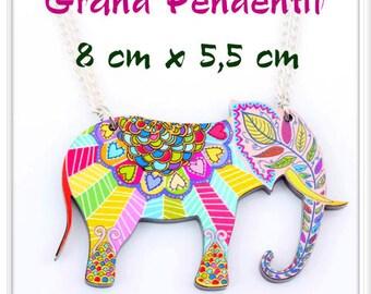 Large pendant acrylic bright multicolored Elephant print on the front, plain black back