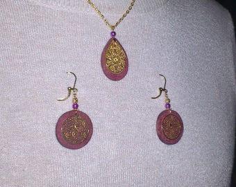 Set necklace + earrings purplewood