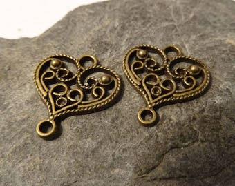2 20mm bronze spirit vintage embossed heart charms