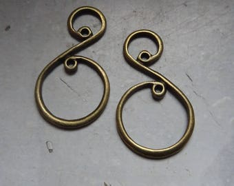 2 bronze scrollwork charms 36x21mm nickel double sided perfect for earrings