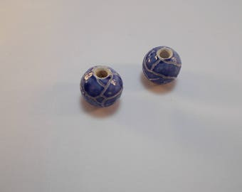 2 beautiful blue and white 12 mm Crackle ceramic beads