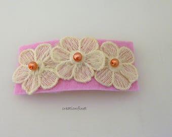 "Hairpin ""3 lace flowers"" felt"