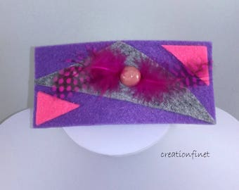 """large barrette """"my feathers"""" felt and faience bead"""