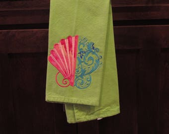 Shell embroidered tea towel