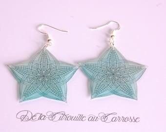 Black and Blue Star Mandala earrings